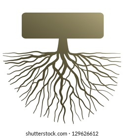 Conceptual illustration with silhouette of tree root