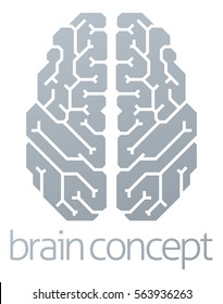 A conceptual illustration of a stylised brain from the top