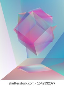 Conceptual illustration of tesseract or hypercube, four-dimensional analogue of the cube. Surreal floating 3d prism dispersing light.