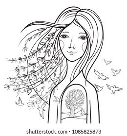 Conceptual illustration with a tranquil girl. Picture about the soul, the harmony of the inside, about the unity with nature. Contour vector illustration.