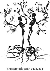 Conceptual illustration of the tree of life growing apart.
