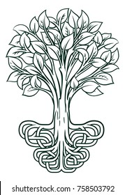 A conceptual illustration of a tree with stylised roots