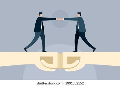 Conceptual illustration of two businessmen doing bro fist bumps.