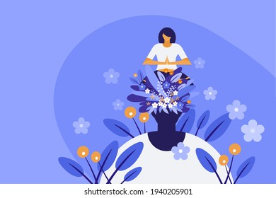 Conceptual illustration of a woman sitting on her own head and doing meditation. Concepts for mindful meditation