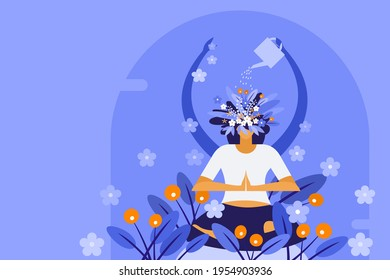 Conceptual illustration of a woman watering the plants growing on her own head while meditating. Concept for mindful meditation