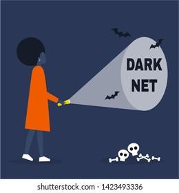 Conceptual illustration. Young black female character exploring the Darknet / editable flat vector illustration, clip art