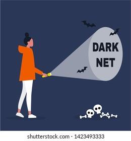 Conceptual illustration. Young female character exploring the Darknet / editable flat vector illustration, clip art