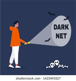 Conceptual illustration. Young male character exploring the Darknet / editable flat vector illustration, clip art