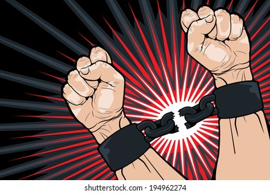 Conceptual image of breaking the bonds in a bid for for freedom and liberty with a strong man clenching his hands to snap the handcuffs around his wrists, vector illustration
