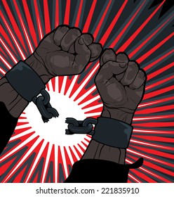 Conceptual image of breaking the bonds in a bid for for freedom and liberty with a strong man clenching his hands to snap the handcuffs around his wrists  vector illustration
