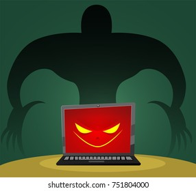 A conceptual image of a computer that has been infected with a malicious virus, malware or advertisement. Data Security, Cybercrime