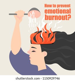 Conceptual image of emotional burnout. The girl is watering the burning brain. Vector illustration in a cartoon style.