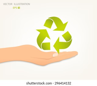 Conceptual image, help and care for recycling. Green triangular recycle symbol on an open palm. Vector illustration isolated on white background.