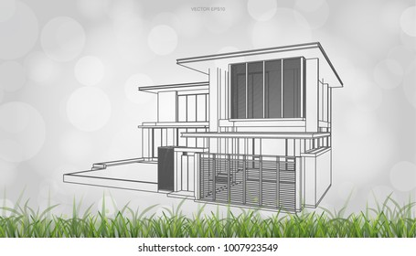 Conceptual image of house perspective render. 3D wireframe rendering with light blurred bokeh background. Vector illustration graphic.