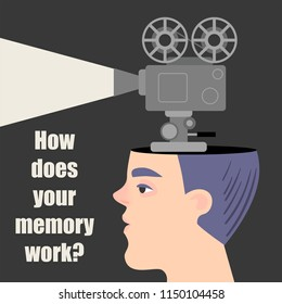 Conceptual image of a memory. The guy with the movie projector. Vector illustration in a cartoon style.