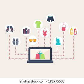 Conceptual image of an online shop selling summer clothing with a laptop computer surrounded by shopping icons decpitcing footwear, luggage, swimwear, sunglasses, clothing and sunscreen