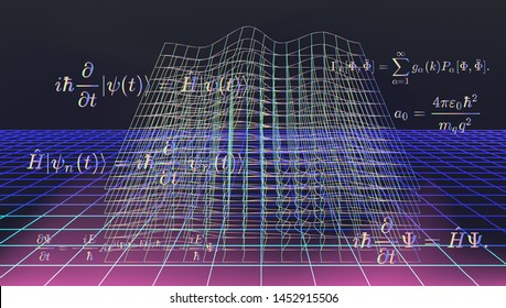Conceptual image of quantum field vibrations. Glitched and vibrating wireframe of space with Schrodinger quantum equations around it.