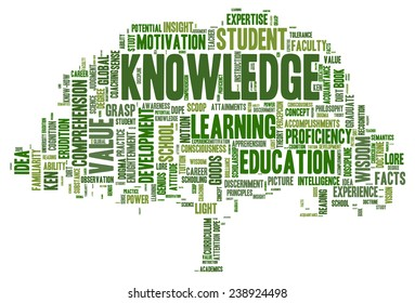 Conceptual image of tag cloud containing words related to knowledge, learning, education, wisdom and similar concepts - in form of a tree (concept tree of knowledge)