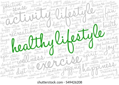"""Conceptual image of tag cloud containing words related to active life and healthy lifestyle. Words """"healthy lifestyle"""" emphasized."""
