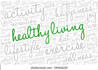 "Conceptual image of tag cloud containing words related to active life and healthy lifestyle. Words ""healthy living"" emphasized."