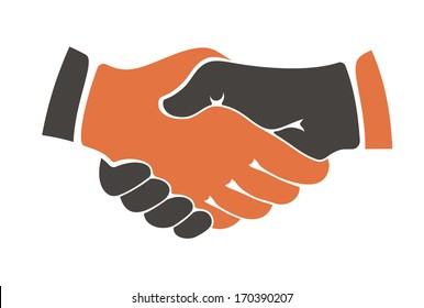 Conceptual image of two people of different ethnicities shaking hands between cultural communities either during a business agreement or show of trust. Rasterized version also available in gallery