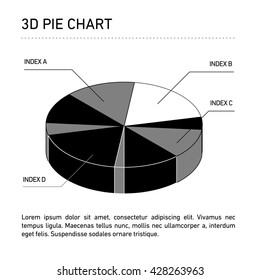 Conceptual infographic 3D pie chart | modern flat design illustration of infographics elements black on white background