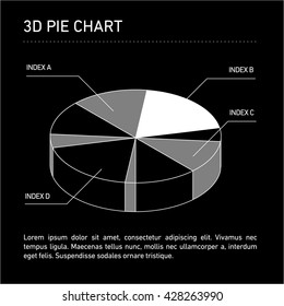 Conceptual infographic 3D pie chart | modern flat design illustration of infographics elements white on black background