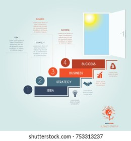 Conceptual infographics steps up stairway to the open door. Business success startup. Template 4 positions, possible to use for workflow, banner, diagram, web design, timeline, area chart