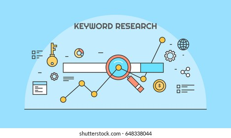 Conceptual line artwork for keyword research, on-page optimization, seo flat vector banner