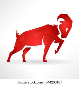 Conceptual logo Design of a Ram icon or Goat Symbol on white background. Vector illustration.