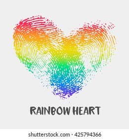 Conceptual logo with fingerprint rainbow heart. Simple flat icon with thumb stamp in colors of LGBT flag. Gay and lesbian support symbol. Thumbprint mark for posters or prints
