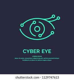 Conceptual logo and label Cyber eye. Modern vector graphics.