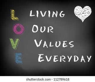 Conceptual LOVE acronym written on black chalkboard blackboard. Living our values everyday. Slide template. Vector Illustration.