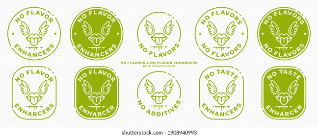 Conceptual marks for product packaging. Labeling - no flavor enhancers. The brand with the mouth icon with wings and a line of the ingredient is a symbol of liberated, free. Vector