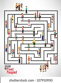 conceptual maze with a lot of people icon vector design