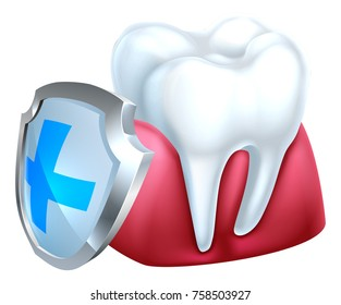 A conceptual medical dental illustration of a tooth and gum being protected