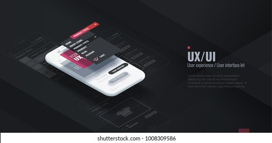 A conceptual mobile phone with a disassembled interface. User experience, user interface in e-commerce. Website wireframe for mobile apps