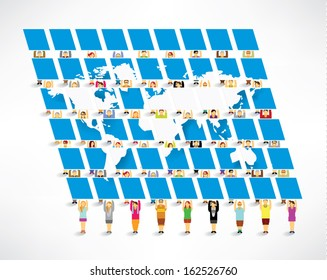 Conceptual people with world map board vector design