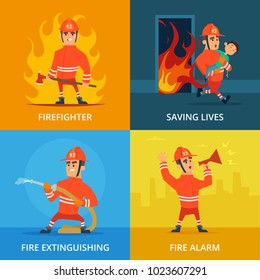 Conceptual pictures of firefighter and work equipment. Firefighter and protection firefighting, vector illustration