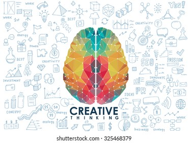 Conceptual Polygonal Brain, Abstract vector Illustration with hand drawn sketches.
