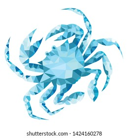 Conceptual polygonal crab. abstract vector illustration, low poly style. stylized design element. design for poster, cover, brochure. logo design. Marine style. Geometry.