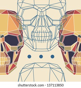 Conceptual polygonal human skull. Abstract vector seamless pattern.. Hipster style. Eps 8