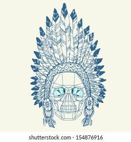 Conceptual polygonal human skull in native american indian chief headdress. Vector illustration.
