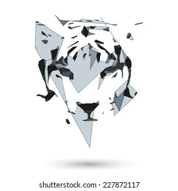 Conceptual polygonal tiger. Abstract vector Illustration, low poly style. Stylized design element. Geometric hipster illustration.Logo design.