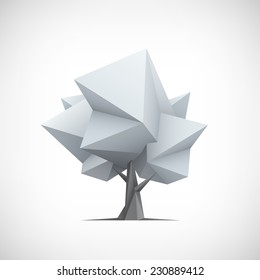 Conceptual polygonal tree. Abstract vector Illustration, 3d low poly style. Stylized design element. Background design for poster, flyer, cover, brochure. Logo design.