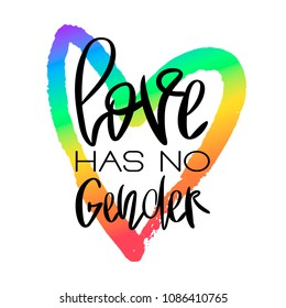 Conceptual poster with hand lettering. Black handwritten phrase Love Has No Gender and colorful LGBT rainbow heart shape isolated on white. Vector typographic illustration for gay community support