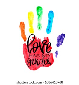 Conceptual poster with hand lettering and handprint. Black handwritten phrase Love Has No Gender and LGBT rainbow Palm print isolated on white. Vector Illustration for gay community support