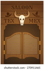 conceptual poster with image of western saloon representing mix of texas and mexican cultures