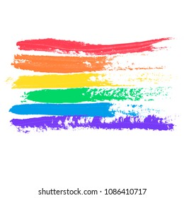 Conceptual poster with LGBT rainbow flag. Colorful messy handdrawn flag isolated on white background. Vector typographic illustration for gay community support