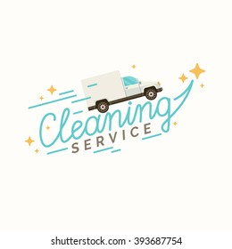 Conceptual poster and the logo for cleaning. Linear a sign cleaning service on a blue background. Vector illustration.